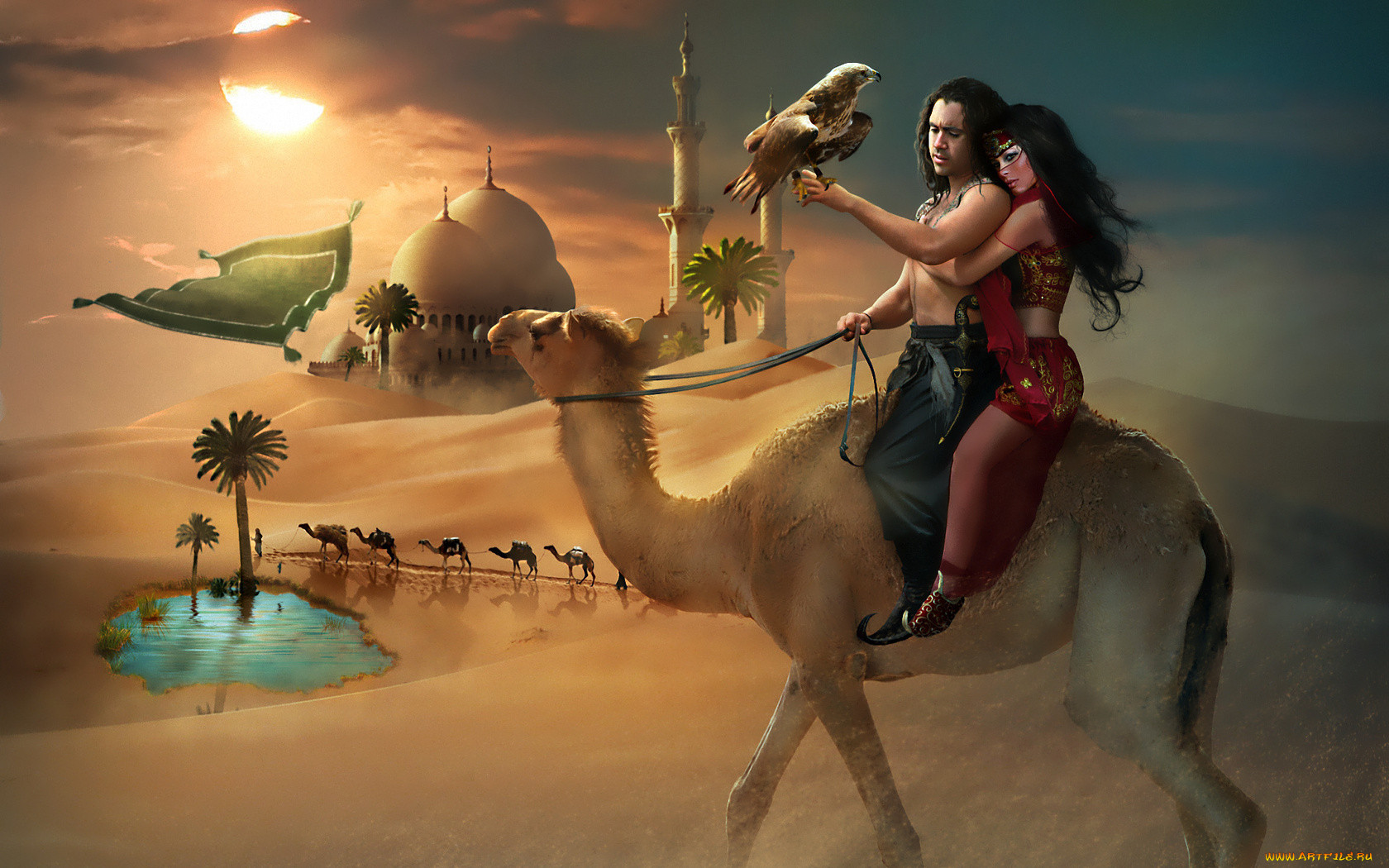 постер пустыня и верблюды и люди первого раза